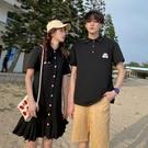 情侶裝 小眾設計感情侶裝夏裝2021新款女連衣裙寬鬆百搭韓版ins潮短袖T恤