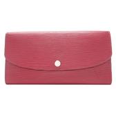 LOUIS VUITTON LV 路易威登 紫紅色 EPI水波紋扣式長夾 【二手名牌 BRAND OFF】