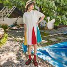 洋裝 韓版炫彩多色拼接襯衫領短袖寬鬆潮流連身裙 S-L #mf268 ❤卡樂❤