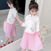 名族風童裝 女童漢服春秋民族中國風童裝女寶寶古裝棉麻套裝復古衣服兒童唐裝