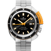 EDOX Hydro Sub 北極潛水500米機械腕錶-黑x橘/46mm E80301.3NOM.NIN