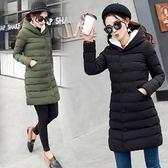 羽絨外套 中長款-連帽時尚修身氣質女夾克2色73it141【時尚巴黎】