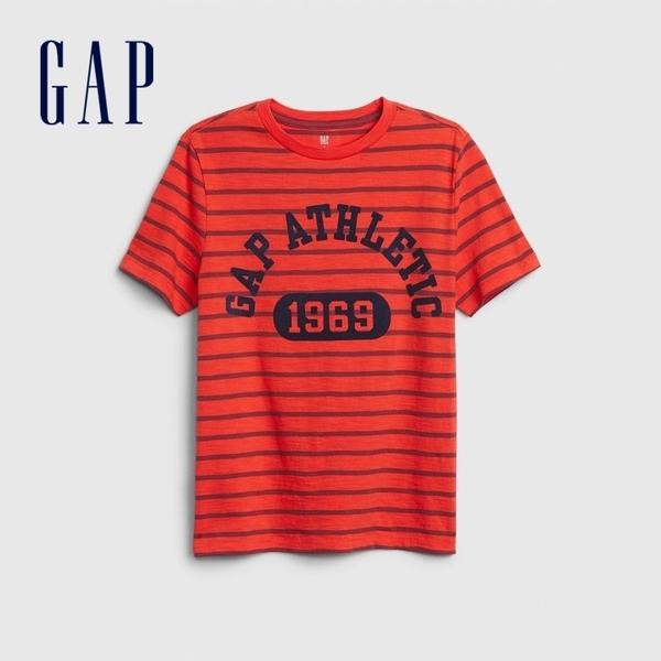 Gap男童 Logo圓領短袖T恤 573666-珊瑚紅
