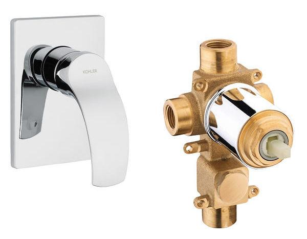 【麗室衛浴】美國 KOHLER  WAVE 單段面板外 (鉻) K-12791T-4-CP+單段開關軸心 K-880T-CP