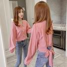 限時特價 格子襯衫女長袖秋裝新款修身顯瘦襯衣蝴蝶結系帶短款V領上衣