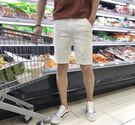 牛仔短褲-夏季白色牛仔短褲男彈力破洞五分褲青少年韓版修身潮大碼黑色 東川崎町