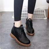 短靴 秋冬女鞋新款厚底粗跟短靴女英倫風復古系帶馬丁靴女靴