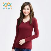 【WIWI】MIT溫灸刷毛V領發熱衣(醇酒紅 女S-2XL)