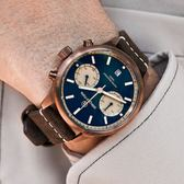 elegantsis / ELJT58QS-6B01LC / 藍寶石水晶玻璃 計時 日期 防水100米 真皮手錶 藍x古銅金框x深褐 43mm
