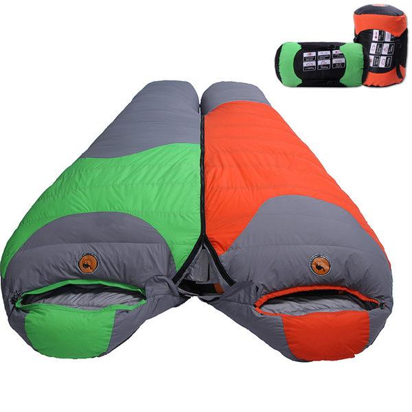 PUSH! 登山戶外用品 90%1500G白鴨絨蓬鬆度為600專業型超值可拼接全開羽絨睡袋P77
