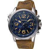 Timberland 天柏嵐 叢林野戰時尚日曆男錶-藍x咖啡/45mm TBL.13910JS/03