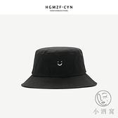 帽子情侶遮陽帽百搭漁夫帽笑臉字母刺繡盆帽【小酒窝服饰】