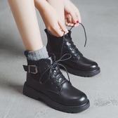 短靴 帥氣機車馬丁靴女平底 ins韓版百搭學院風英倫短靴潮 降價兩天