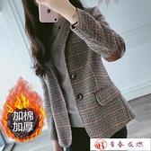 西裝外套 格子小西裝女秋季新款中長款韓版女裝大碼修身百搭毛呢外套女【快速出貨】
