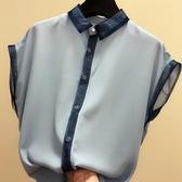 2020新款韓版拼色短袖雪紡衫寬鬆氣質襯衫小清新上衣洋氣小衫女夏