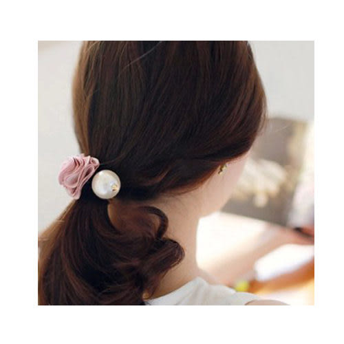 OH0013 玫瑰花大珍珠髮飾 花朵 優雅時尚 髮束 髮圈 髮束 飾品 髮束 頭圈 女B269900090
