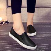 黑色皮面帆布鞋女平底布鞋樂福鞋懶人鞋一腳蹬女鞋平跟休閒鞋單鞋 街頭布衣