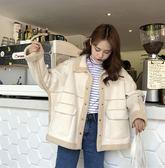 新款冬季韓版寬鬆兩面穿加厚仿羊羔毛棉衣棉服外套女 萬客居