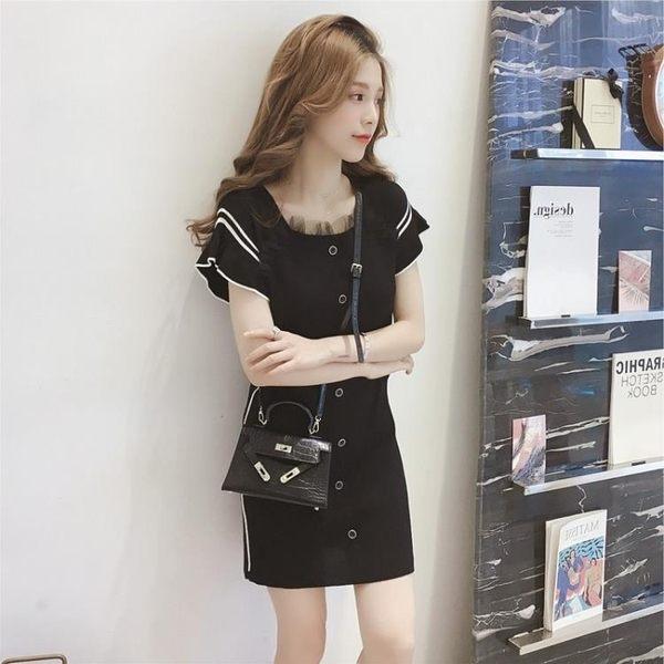 短袖洋裝 韓范蕾絲拼接條紋打底裙子松緊腰顯瘦短袖針織連身裙 巴黎春天