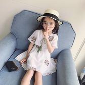 女童連身裙2018秋季新款 短袖洋氣裙子韓版雪紡公主裙