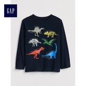 Gap男嬰幼童 印花圖案長袖T恤 496366-藏青色