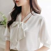 蝴蝶結襯衫女中袖白色上衣2021春夏氣質飄帶雪紡白襯衣 快速出貨