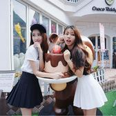 韓國MM網球裙高腰修身短裙 學院風學生半身百褶裙女吾本良品
