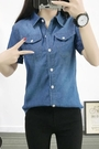 短袖牛仔襯衫女學生夏季韓版大碼純棉修身顯瘦休閒襯衣半袖上衣薄 蘑菇街小屋