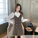 時尚減齡洋氣秋季套裝2020新款女長袖襯衫搭吊帶洋裝氣質兩件套 韓慕精品