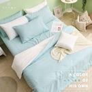 《DUYAN竹漾》舒柔棉雙人四件式舖棉兩用被床包組-薄荷綠床包+白綠被套