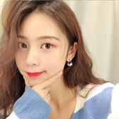 珍珠圓圈幾何耳環耳夾氣質韓國小清新甜美水晶鋯石圓環耳釘女 黛尼時尚精品
