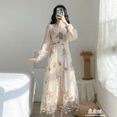 法式初戀仙女裙長款超仙宮廷風收腰顯瘦網紗刺繡洋裝(快速出貨)