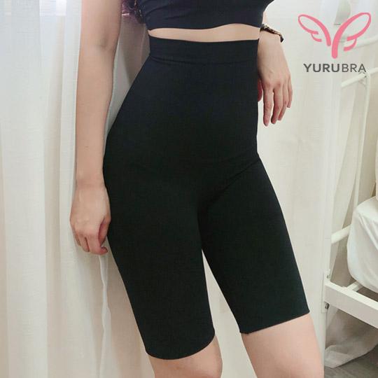 【【Yurubra】】無縫3D高腰修飾褲。修飾 束腹 包臀 內褲 台灣製。※M035黑