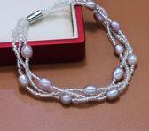 淡水珍珠手?天然色滴水形珍珠手?時尚吸鐵扣新款米形珍珠手?