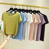 莫代爾T恤女短袖夏新款韓版純色牛油果綠上衣大碼內搭打底衫