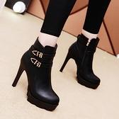 冬鞋女靴子2020秋冬季新款高跟女鞋子細跟短靴防水臺黑色加絨棉靴 喵小姐