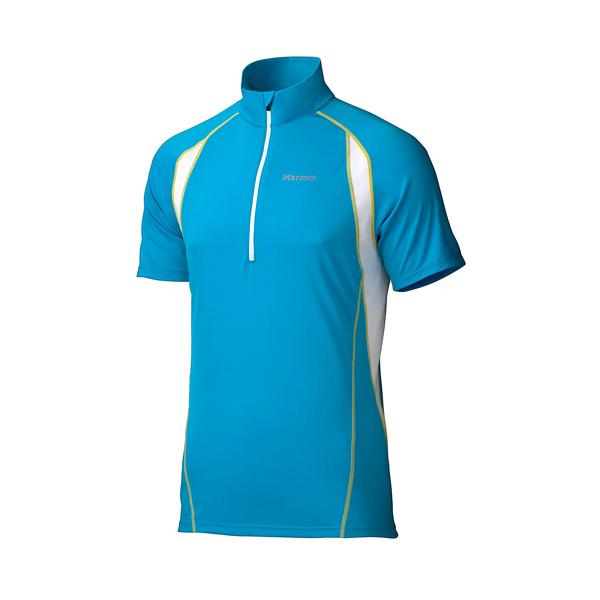 [Marmot] Interval (男) 防曬排汗短袖半門襟上衣 藍 (M61870-2910)