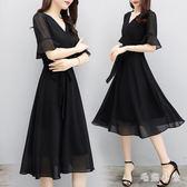大尺碼洋裝夏季新款黑色雪紡連衣裙時尚顯瘦氣質v領赫本小黑裙 Ic1270『毛菇小象』