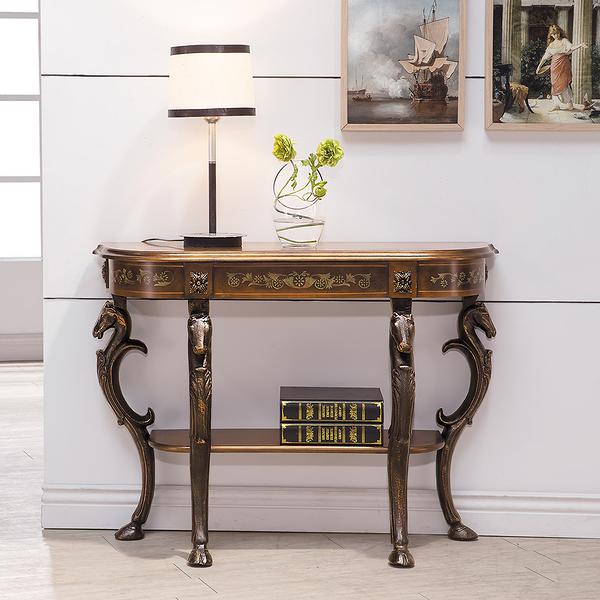 【森可家居】法蘭西斯3.6尺玄關桌 8HY374-01 歐風仿舊鄉村風 法式古典宮廷