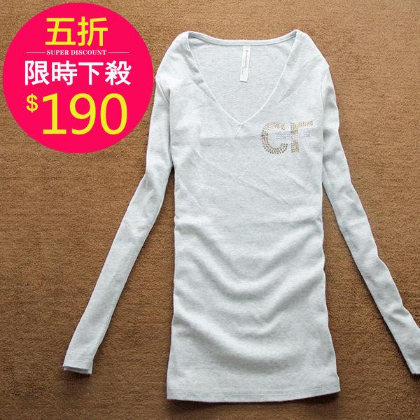 T恤【015】FEELNET中大尺碼女裝春裝純色百搭長袖上衣