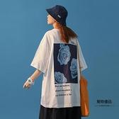 短袖T恤女寬鬆韓版原宿半袖設計感小眾中袖【聚物優品】