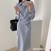法式霧霾藍翻領單排扣設計不規則收腰長袖襯衫式洋裝女 居家物語