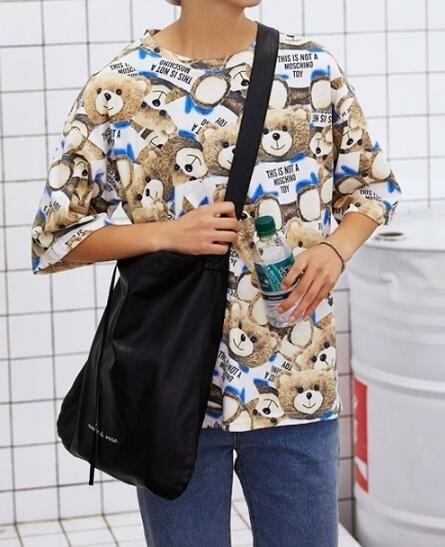 FINDSENSE MD 韓國 時尚潮 男 休閒寬鬆 五分袖 小熊衝浪板卡通圖案