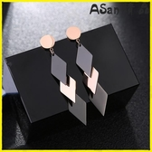 【YPRA】耳環 長串幾何菱形吊墜黑色長款超仙鈦鋼耳環