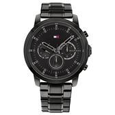 【台南 時代鐘錶 Tommy Hilfiger】1791795 極簡機能風 三眼 鋼錶帶男錶 44mm 黑 公司貨保固2年