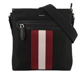 【BALLY】Currios 紅白條紋帆布斜背包(黑色) 6220467 001
