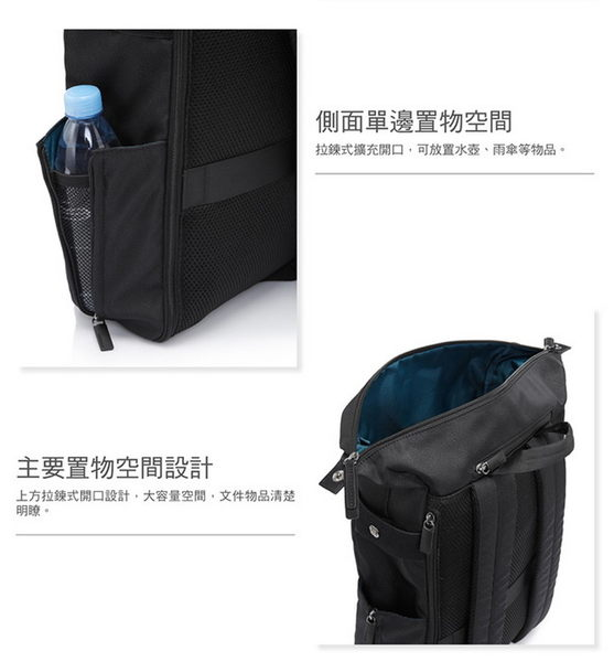 """Samsonite新秀麗 Varsity防潑水多功能筆電後背包-14""""(黑色)"""