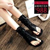 克妹Ke-Mei【ZT58624】歐洲站 辛辣龐克雙皮釦夾腳皮質露指靴