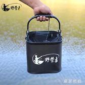 釣魚打水桶加厚帶繩折疊提水桶魚箱活魚桶裝魚小釣魚桶 QQ9131『東京衣社』