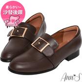 Ann'S適度文青-金色方扣皮革紳士鞋-咖